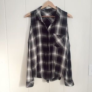 Sanctuary Black and White Plaid Cold Shoulder Top